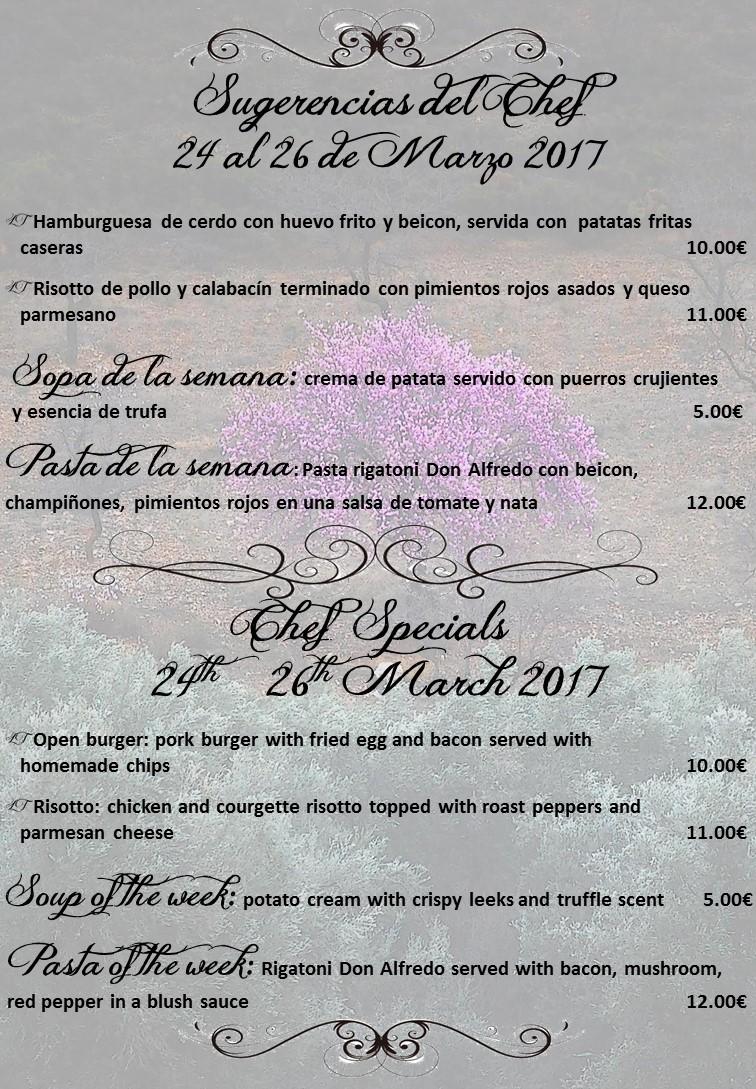 Sugerencias del Chef para este fin de semana 24/03/17 + Sopa y Pasta de la semana – Chef Specials for this weekend 24/03/17 + Soup & Pasta of the week
