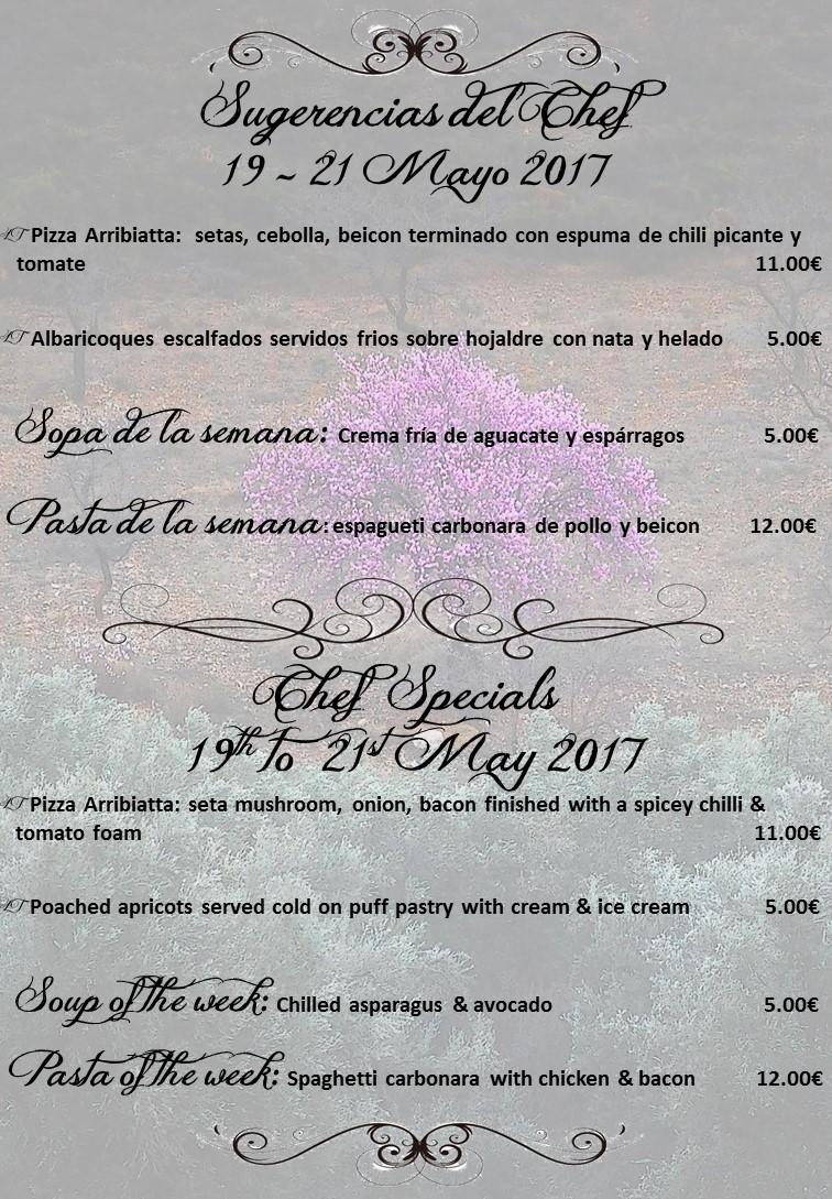 Sugerencias del Chef para este fin de semana 19/05/17 + Sopa y Pasta de la semana – Chef Specials for this weekend 19/05/17 + Soup & Pasta of the week