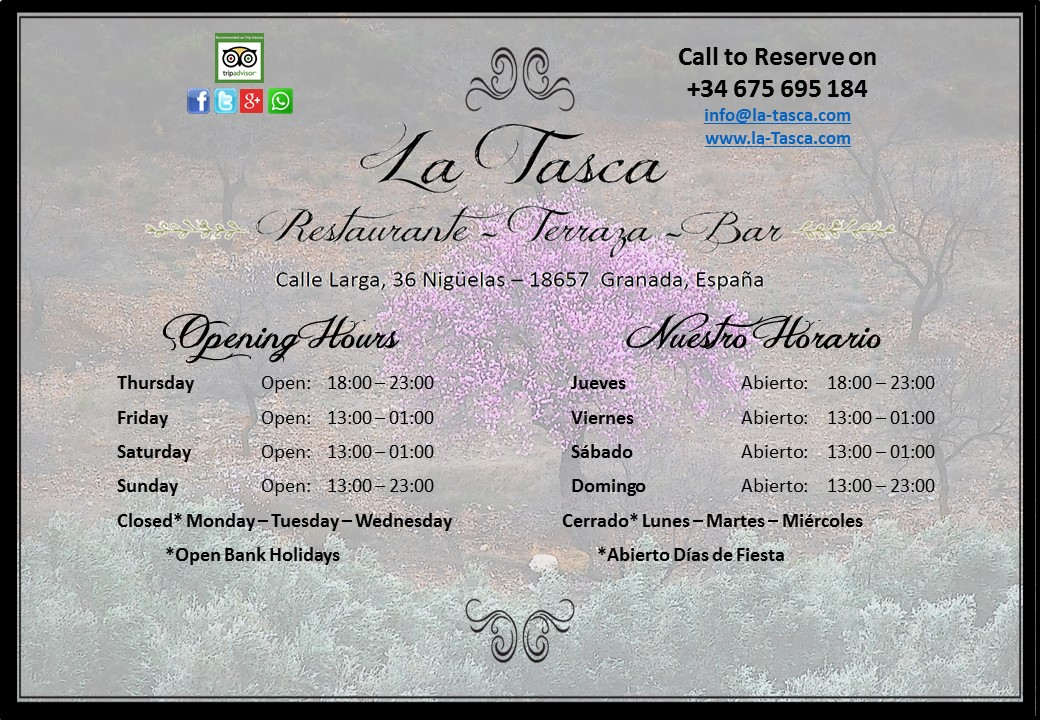 Nuestro Horario – Our Opening Hours